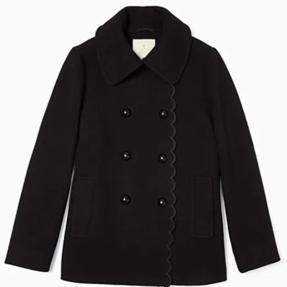 NWT Kate Spade Out West Scallop Peacoat- Black